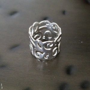 Silpada ~ .925 Sterling Silver Scroll Ring size 9